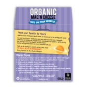 Out of this World Organic Mac and Cheese Back Label