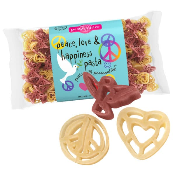 Peace, Love, and Happiness Pasta Bag with pasta pieces