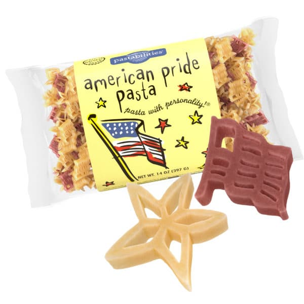 American Pride Pasta Bag with pasta pieces