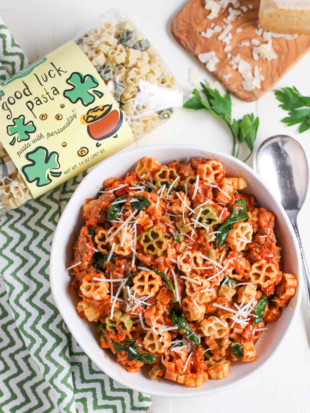 Pasta with Spicy Sausage and Tomato Cream Sauce
