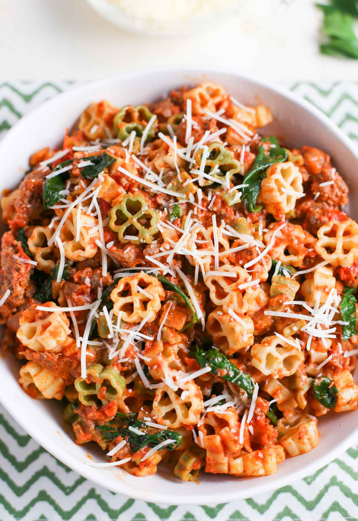 Close up of Pasta with Spicy Sausage and Tomato Cream Sauce