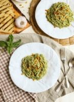 Pecan Pesto with Garlicky Breadcrumbs | One of the best EVER! recipes. The garlicky breadcrumbs with lemon zest make the dish. Serve alone or with grilled shrimp or salmon. | WorldofPastabilities.com