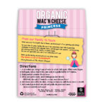 Princess Organic Mac and Cheese Back Label