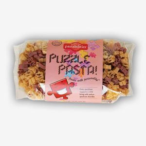 Fun puzzle pasta pieces! A portion of each purchase of Puzzle Pasta supports kids living with autism spectrum disorder! Delicious recipe included.