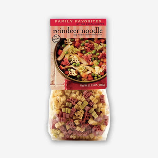 The entire family will love our Reindeer Noodle Soup- reindeer shaped pasta with our delicious chicken noodle soup mix. Pasta and soup mix included. Shop Now! | www.pastashoppe.com