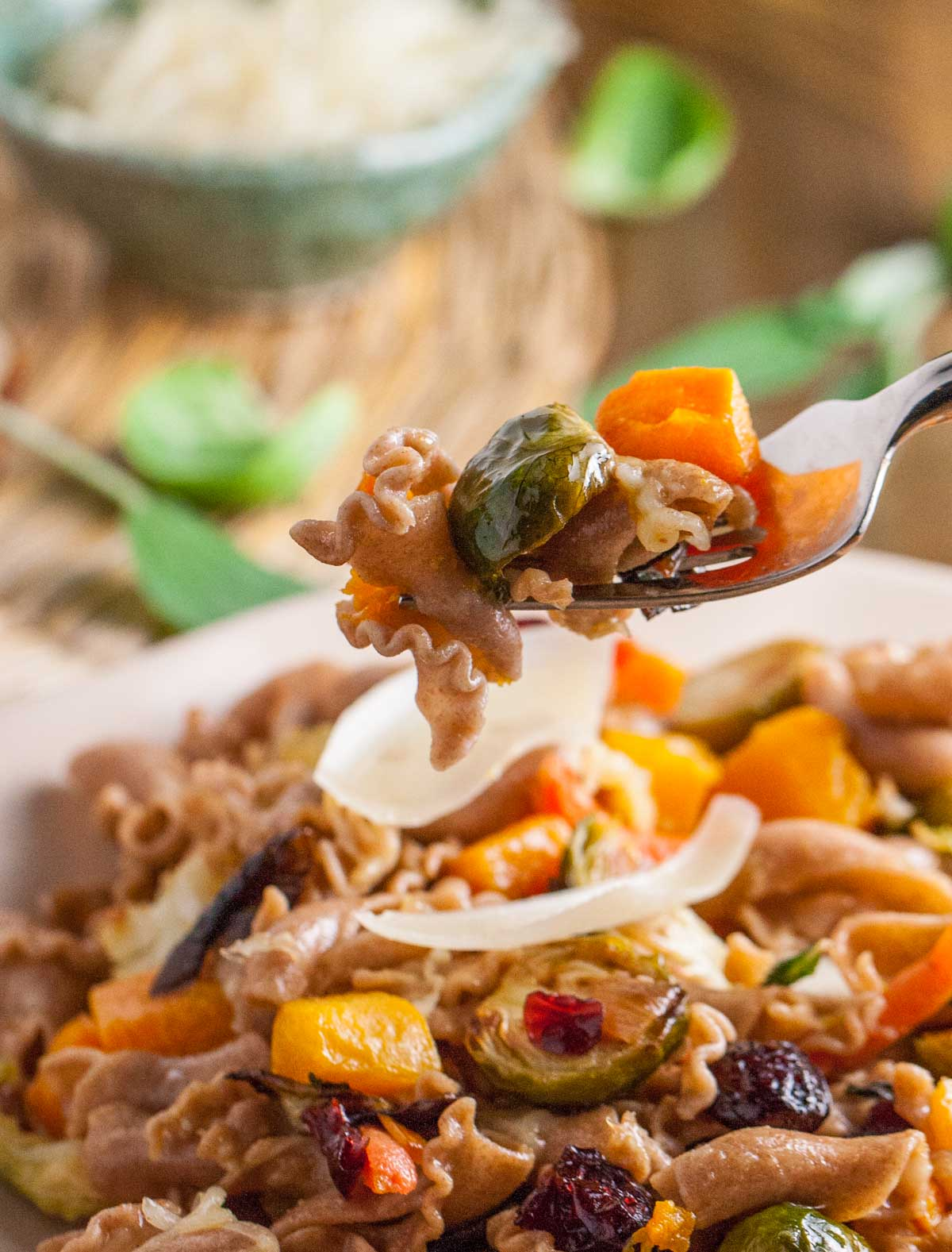 Roasted Vegetables with Sprouted Grains Pasta | WorldofPastabilities.com |Roasted Vegetables taste so delicous with our Lemon Brown Butter Sauce and Sprouted Grains Pasta!