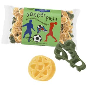 Soccer Pasta Bag with pasta pieces