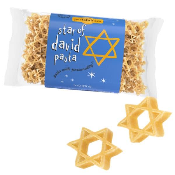 Star of David Pasta Bag with pasta pieces