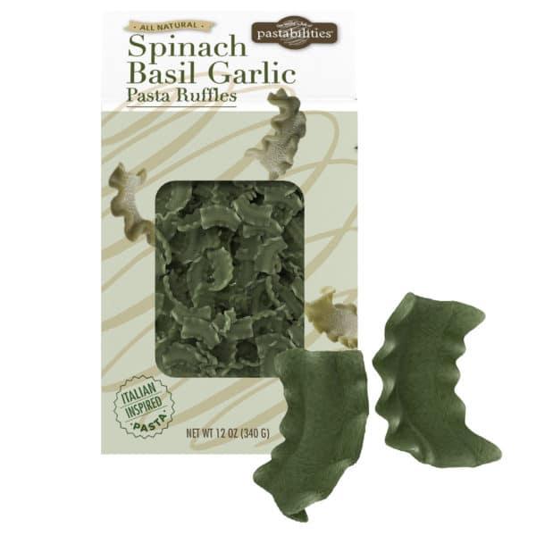 Spinach Basil Garlic Pasta Ruffles box and pasta pieces