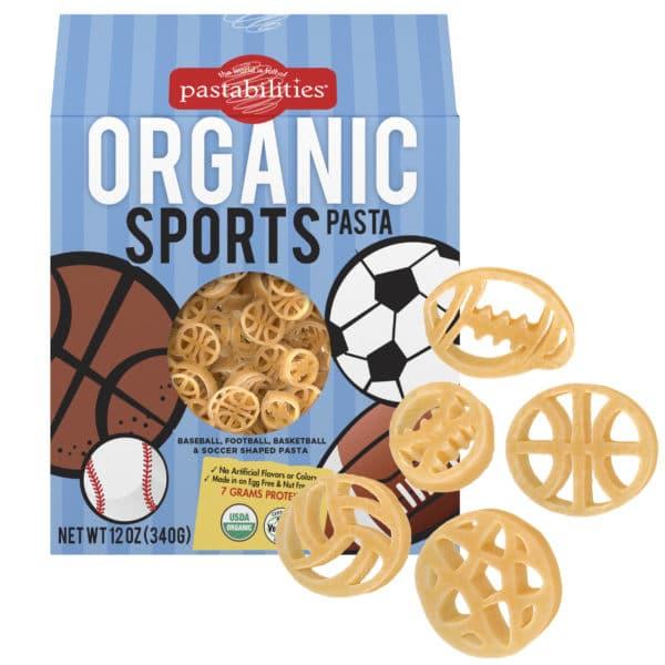 Organic Sports Pasta Box with pasta pieces