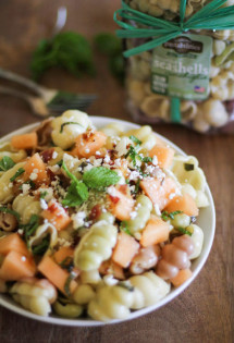 Pasta with Melon, Pancetta, and Feta