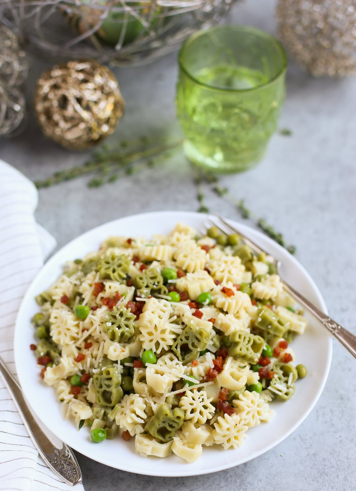 Snowman Pasta with Crispy Pancetta Peas and Parmesan | World of Pastabilities