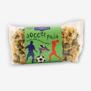 "It's always a World Cup event when Soccer Pasta is served! Your players will get a ""kick"" out of it! Bacon Cheeseburger Pasta – included on the label."