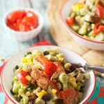 Southwest Chicken Pasta with Avocado Sauce | WorldofPastabilities.com