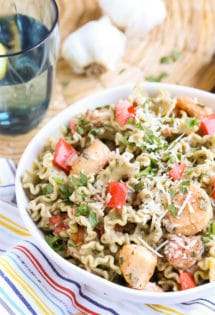 Spinach Basil Garlic Pasta Light Creamy Seafood | Simple and Delicious recipe with lots of flavor and great texture | World of Pastabilities