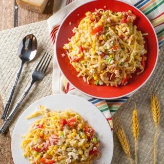 Summer Corn and Tomato Pasta | WorldofPastabilities.com