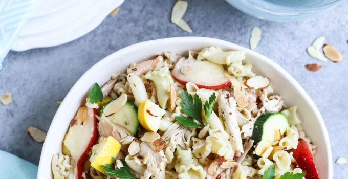 Summertime Chicken Pasta Salad with Nectarines & Squash | Tangy Lime Vinaigrette ties together a delicious unexpected surprise! Perfect as a main course and perfect for summer! Simple and delish! | WorldofPastabilities.com