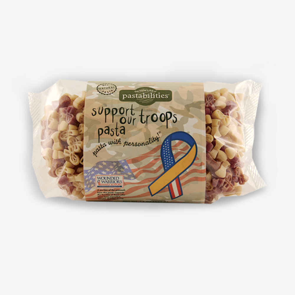 "Support our Troops pasta is delicious and feels good to purchase! A percentage of the profits from every sale goes to ""Wounded Warriors Family Support""."