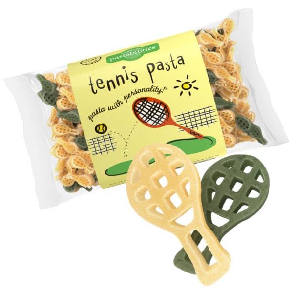 Tennis Pasta Bag with pasta pieces
