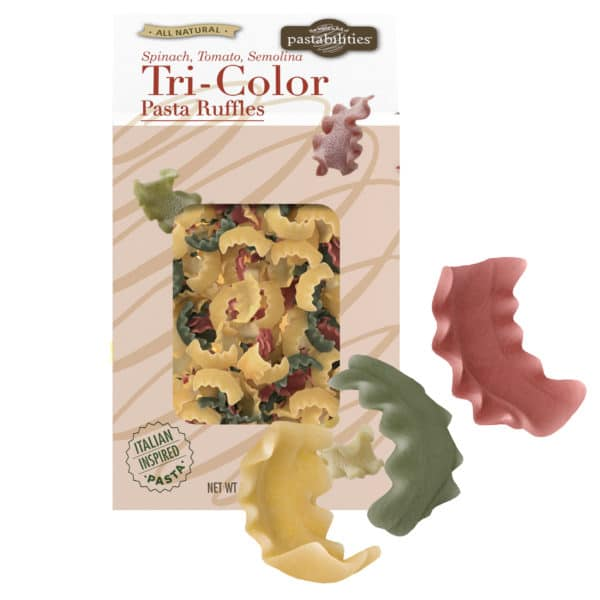 Tri-Color Pasta Ruffles with pasta pieces