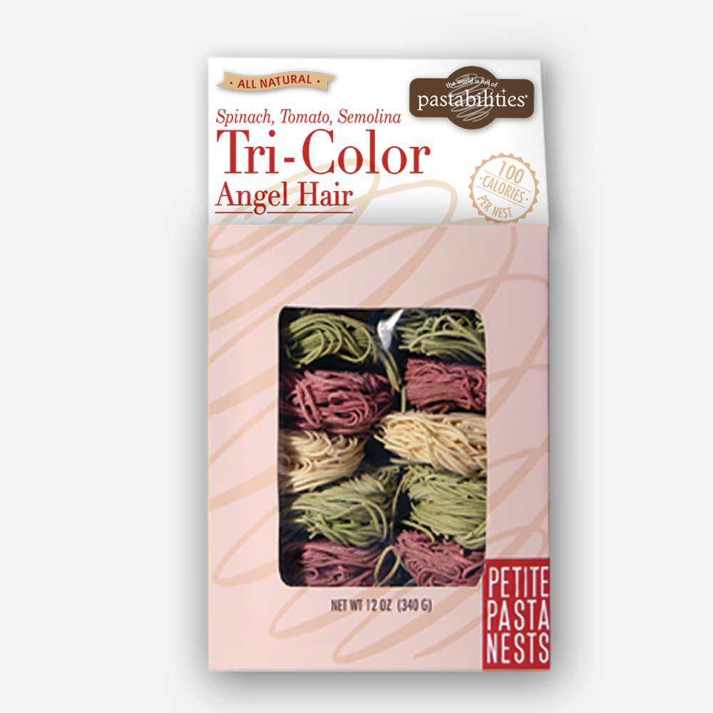 Spinach, Tomato, & Semolina Tri-Color Angel Hair Pasta Nests add glamour & taste to any meal. Light, fluffy and beautiful when served with shrimp or seafood. Shop NOW! | thepastashoppe.com