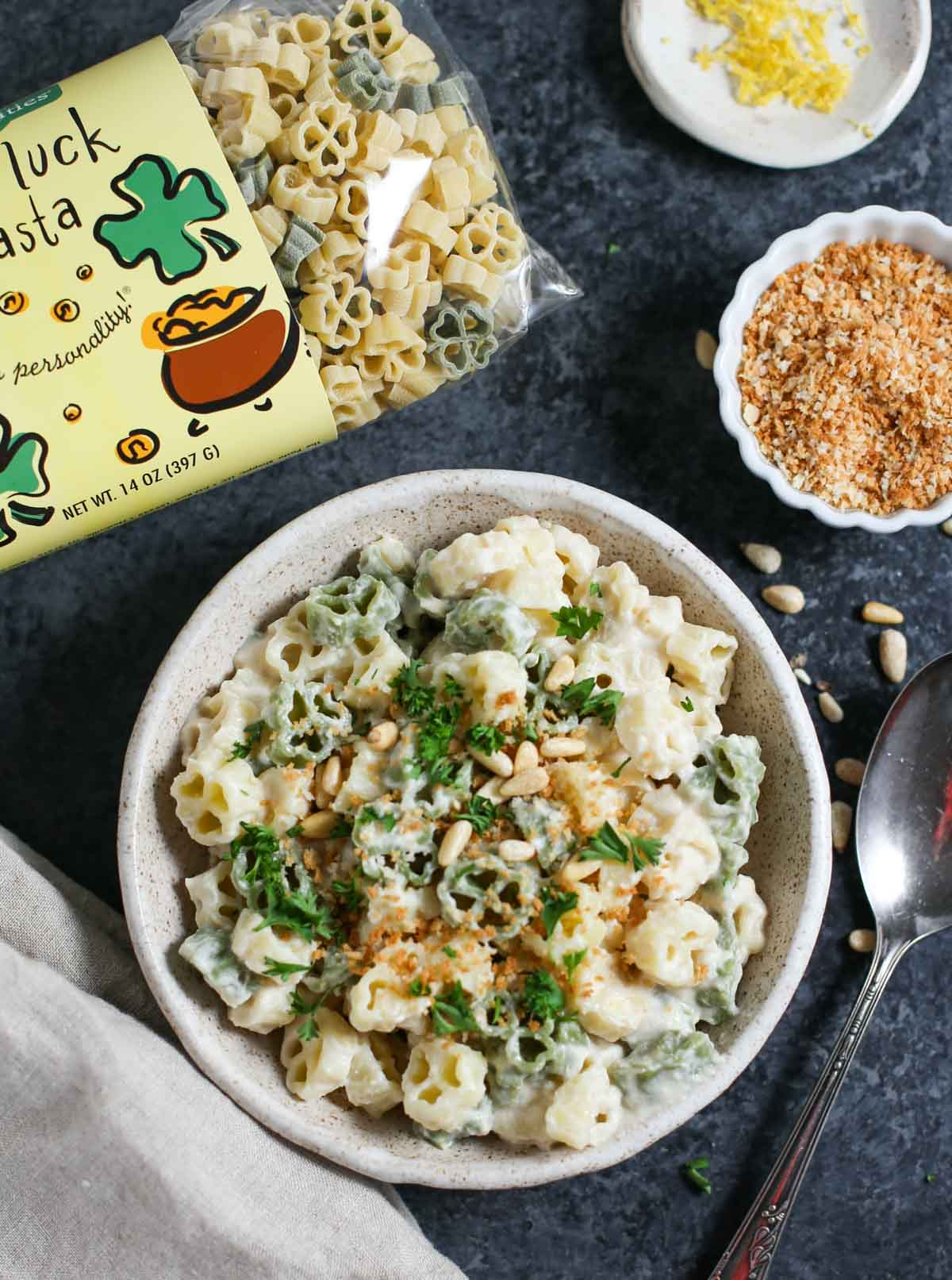 Vegan Cauliflower Alfredo with Good Luck Pasta Overhead shot