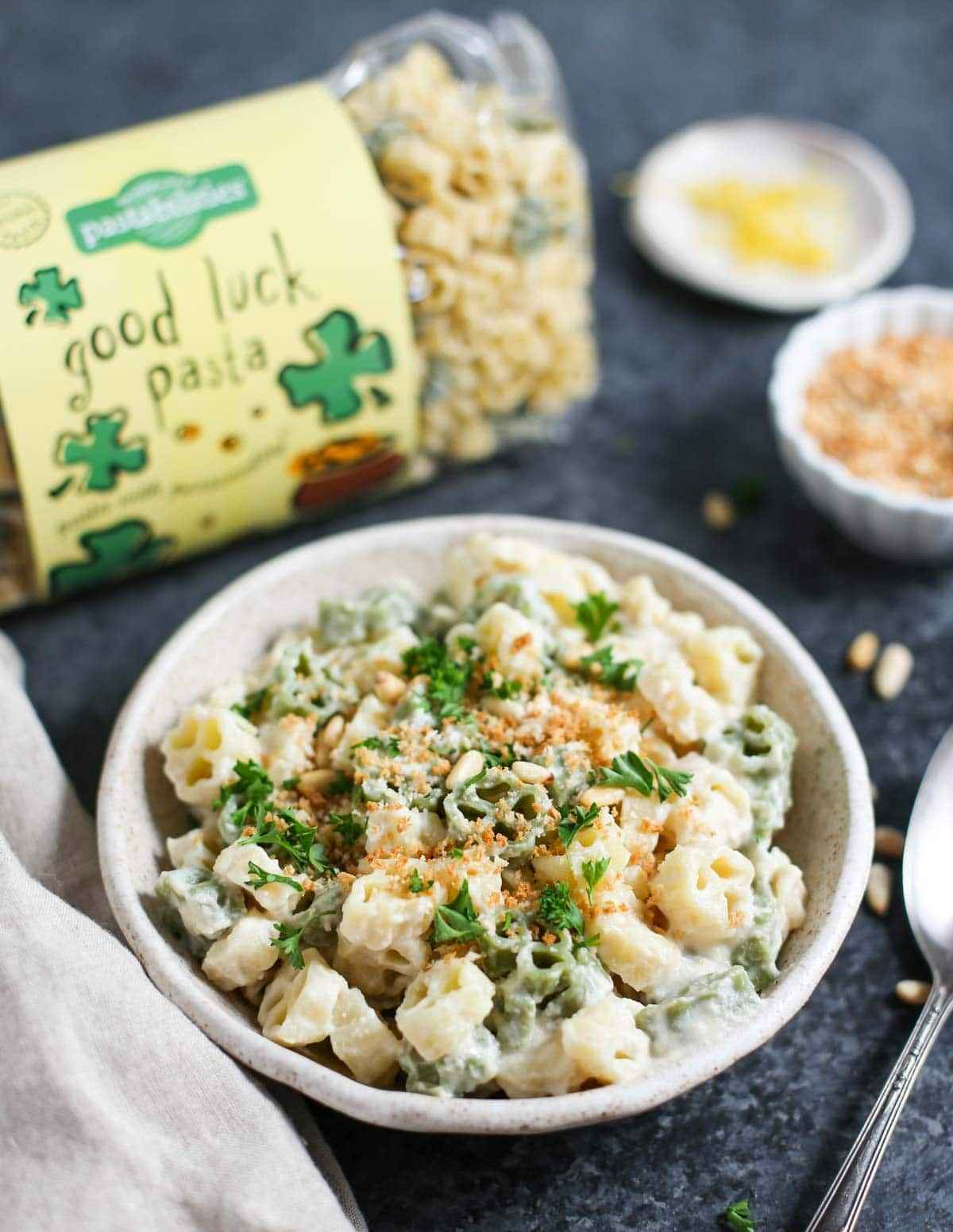 Vegan Cauliflower Alfredo with Good Luck Pasta