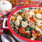Veggie Sausage and Sweet Peppers with Turkey Pasta - a Thanksgiving Alternative! | Vegan Sausage, onions, colorful sweet peppers, fresh spinach and cannellini beans combine to make a delicious and hearty dish! | Add something new to your menu! | WorldofPastabilities.com