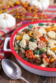 "Veggie Sausage and Sweet Peppers with ""Turkey"" Shaped Pasta – a Thanksgiving alternative!"
