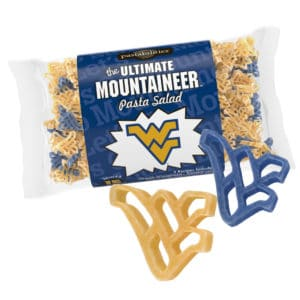 West Virginia Mountaineer Pasta Bag with pasta pieces