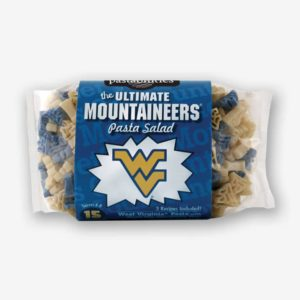 """West Virginia Pasta Salad- Start the tradition this weekend with West Virginia """"Mountaineers"""" Pasta Salad! Your own Logo Shaped Pasta with a TOUCHDOWN Vinaigrette Mix included. 