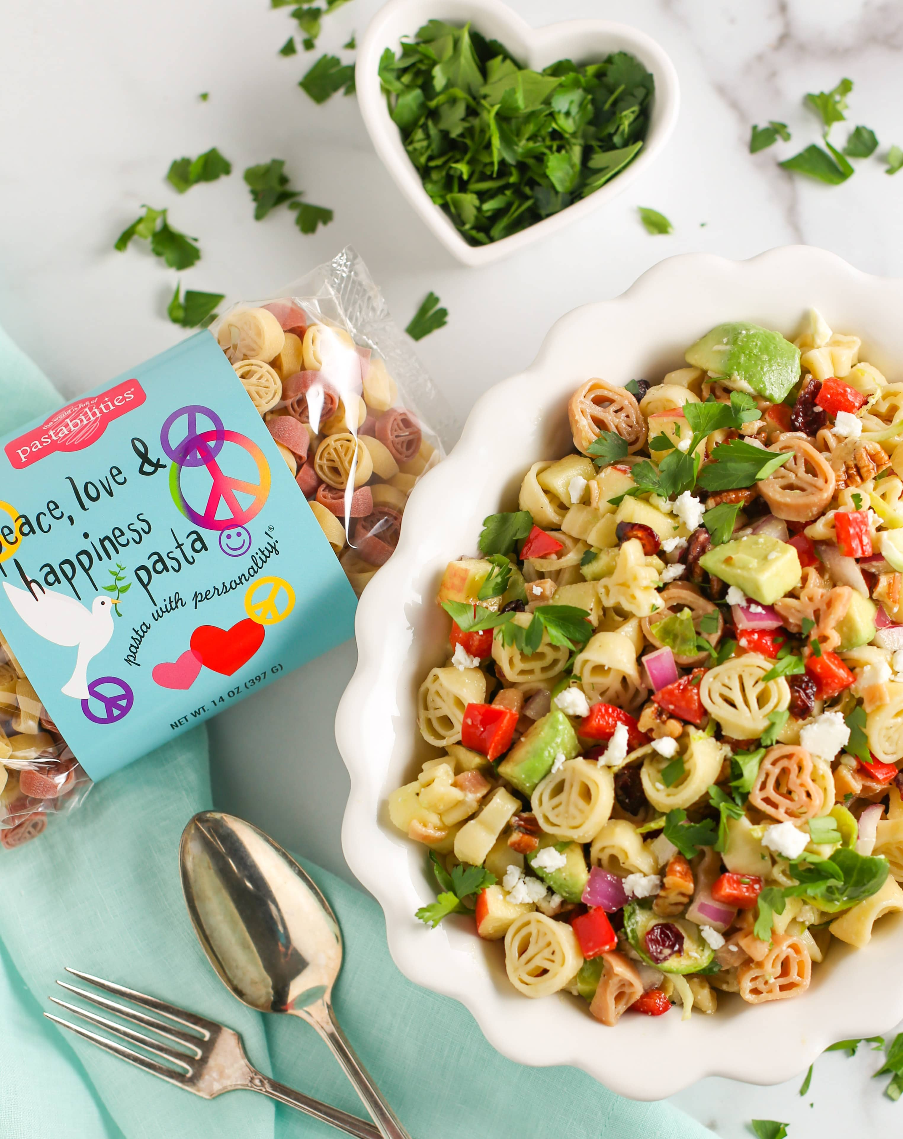 Overhead shot of Winter Pasta Salad showing Peace Love & Happiness Pasta Bag