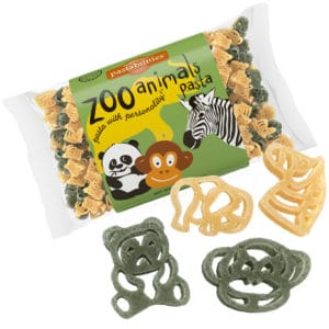 Zoo Animals Pasta Bag with pasta pieces