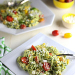 Zucchini Noodle Salad with Tomatoes, Goat Cheese, Corn & Avocado Sauce | WorldofPastabilities.com | Healthy, fresh, and delicious noodles that will convince even the kids it is pasta! The avocado sauce is the star...perfect side for any grilled meats this spring and summer!