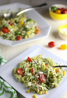 Zucchini Noodle Salad with Tomatoes, Goat Cheese, Corn and Avocado Sauce