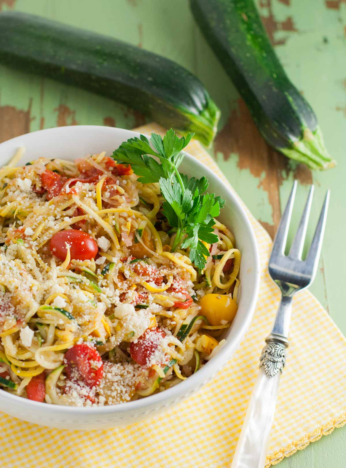 Zucchini Noodles with White Wine Sauce   WorldofPastabilities.com   Healthy and delicious zucchini and squash noodles make any meal colorful! as a main course or side dish - you will be amazed how a shape can transform a veggie! Even the kids raved!