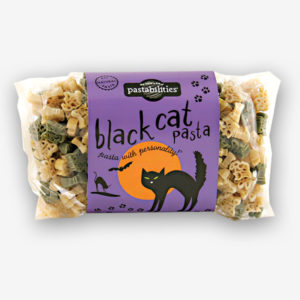 "Don´t be """"spooked"""" by our Black Cat Pasta! A fun way to celebrate Halloween night. Includes a recipe for Taco Pasta Salad! Serves 6-8."