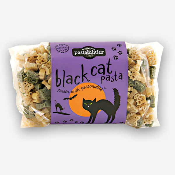 """Don´t be """"""""spooked"""""""" by our Black Cat Pasta! A fun way to celebrate Halloween night. Includes a recipe for Taco Pasta Salad! Serves 6-8."""