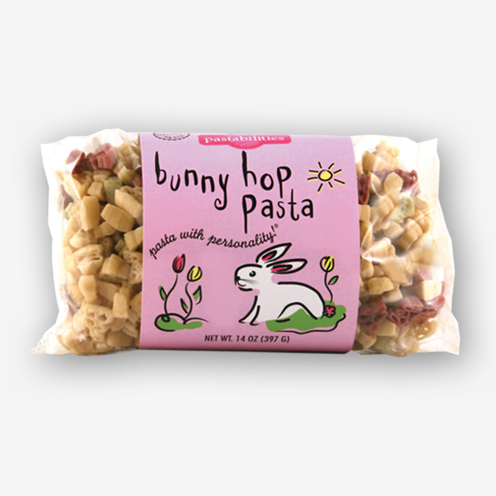 Your family will hop around the kitchen when your serve our Bunny Hop Pasta! Makes a great gift. Cute basket item for Easter too!