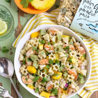 Group shot of Caribbean Pasta Salad with fresh pineapple and pasta bag