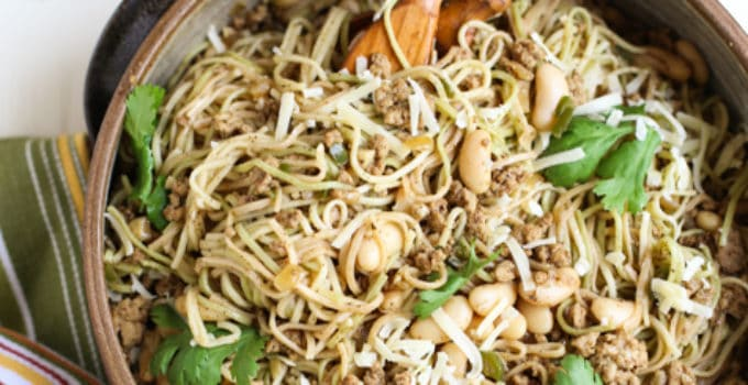 Hearty and subtle pasta dish blending flavors of a chili and spaghetti! Delish! Beans, ground chicken, and lots of spices with Angel Hair Pasta - yum! | WorldofPastabilities.com