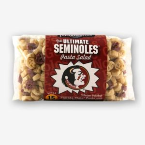 "Start the tradition this weekend with Florida State ""Seminoles"" Pasta Salad! Your own Logo Shaped Pasta with a TOUCHDOWN Vinaigrette Mix included. Shop NOW! 