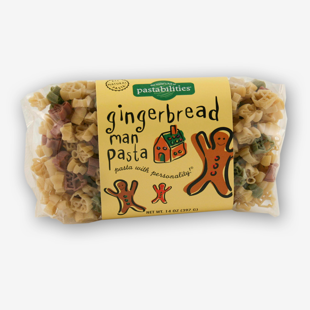 Our gingerbread men and houses are a cute combo for the holiday season! Gingerbread Man Pasta also makes a great holiday hostess gift!