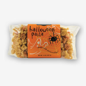Serve Halloween Pasta to your little goblins before trick or treating on Halloween night! A delicious recipe for Pepperoni Pizza Pasta is on the label.