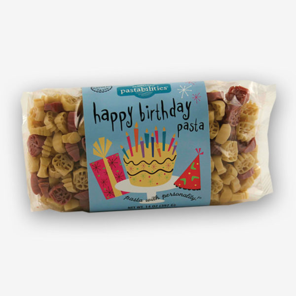 "A delicious way to celebrate every birthday! Kids of all ages love our Happy Birthday Pasta. Makes a great birthday """"goodie"""" or """"favors"""" for the party."