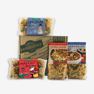 Our Holiday Gift box makes the holidays fun for the whole family! Includes Snowman Pasta, Christmas Tree Pasta, Reindeer Noodle Soup and a Wintertime Chili.
