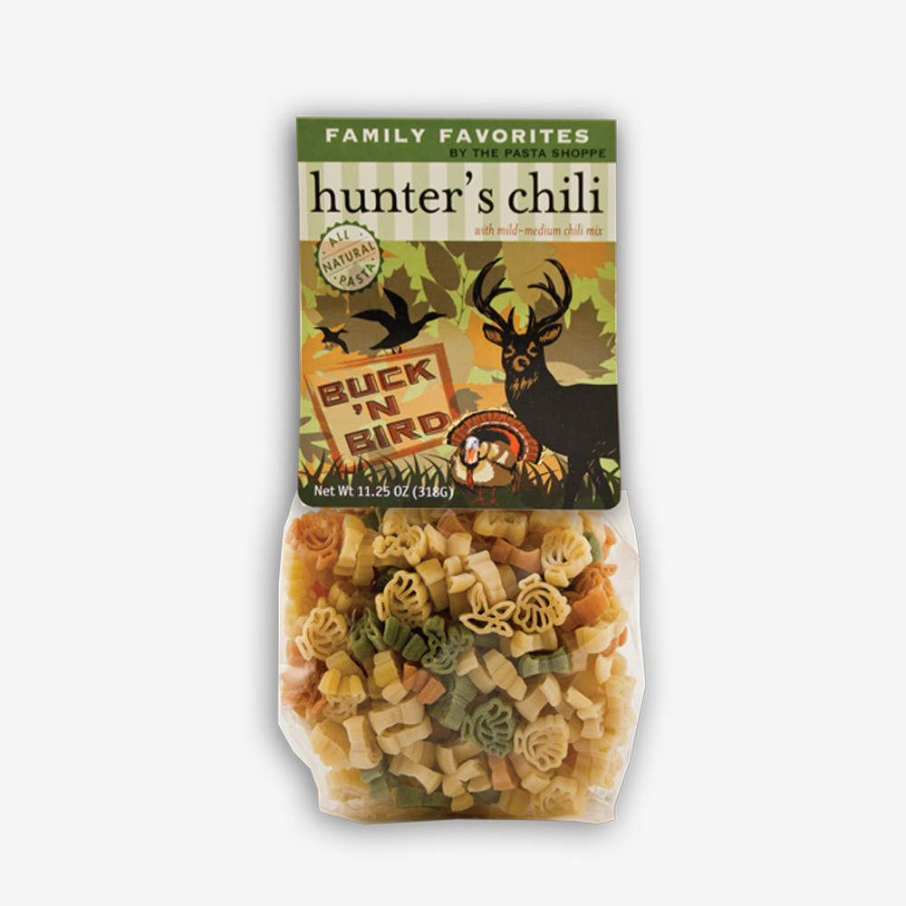 Hunter's Chili is delicious to make after a successful hunting day...or any day of the week! Camo package includes pasta and the chili seasoning mix.