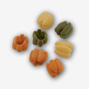 The beautiful twists and turns in our Petite Pumpkins (Zucchettes) Tri-Color Pasta shapes also help capture your favorite toppings! Buon Appetito! Shop NOW!