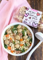 Italian Wedding Soup with Heart Pasta | Light & colorful made with Chicken Meatballs and Spinach | Delicious and fun with Heart Pasta | WorldofPastabilities.com