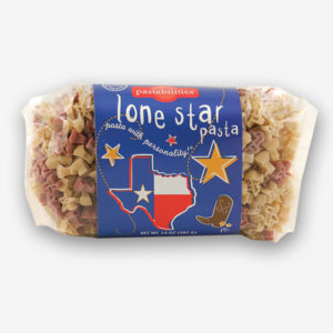 Texans love their state...and now they can celebrate with official Lone Star Texas pasta! Bacon Cheeseburger Pasta recipe is on the label, a family favorite